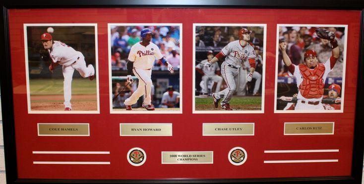 "Philadelphia Phillies 2008 World Series Champions 42"" x 22"" Framed and Matted 4-Player Panorama (Hamels, Howard, Utley, Ruiz)"