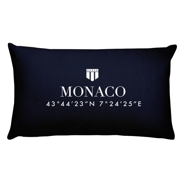 Monaco Côte d'Azur Pillow with Coordinates