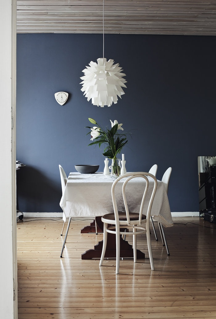 Charcoal Feature Wall And White Furniture