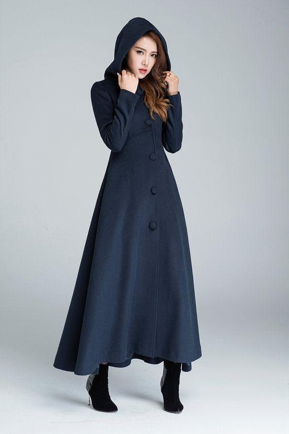 Maxi coat, navy blue, wool coat, warm coat, hooded coat