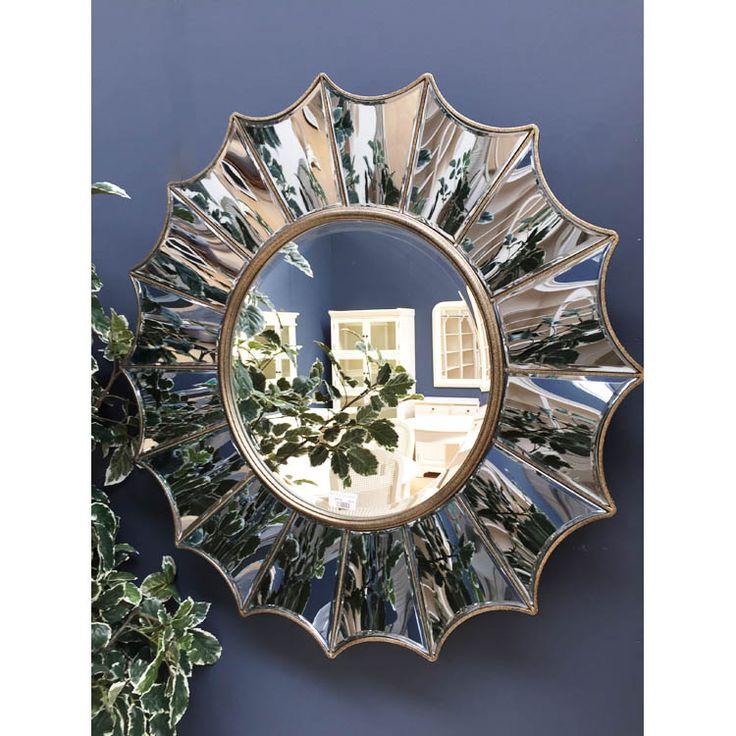 Round Gold Ridged Mirror - 88 cm