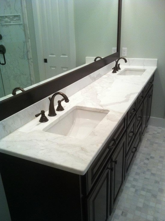 17 best images about marble countertops on pinterest white shaker cabinets carrara and faucets - Bathroom vanity tops edmonton design ...