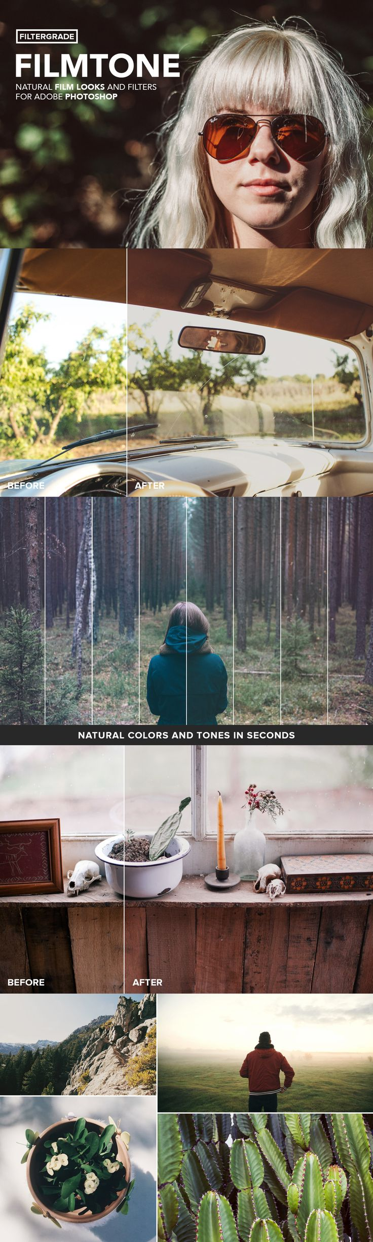 Create natural film looks for your photography in seconds! A set of of 25 high quality Photoshop actions to help you blend light, color, and shade with tonal adjustments.