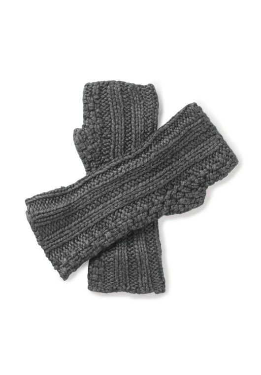 Textured Knit Mittens in Mid Grey Marl from hush