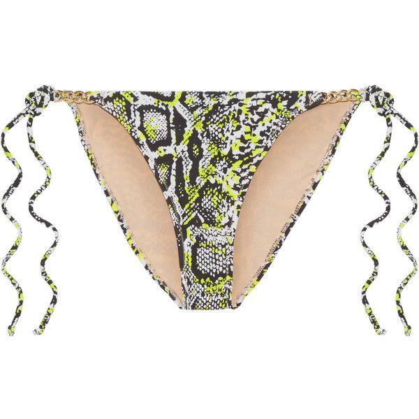 L'Agent by Agent Provocateur Mercades embellished printed bikini... ($51) ❤ liked on Polyvore featuring swimwear, bikinis, cut-out bikinis, halter bikini tops, gold neck tie, tie necktie and swim bikini bottoms