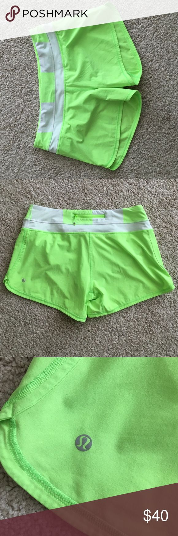 Lululemon faded zap neon green shorts size 10 Lululemon faded zap neon green shorts size 10. These shorts are in perfect condition! They have a built in liner. Sorry, no trades 🙅🏼 lululemon athletica Shorts