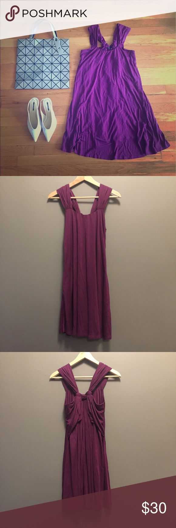 MAJE purple knotted purple summer dress It's an effortless, chic summer dress. It could be formal as a night out dress with silver evening sandals or wearing with black leather jacket to achieve more edgier style. Maje Dresses