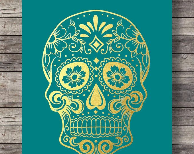 Arte para imprimir | Imitación oro verde azulado azúcar cráneo impresión | Impresión de arte calavera mexicana | Dia di los Muertos | Arte de la pared para imprimir | DESCARGA INMEDIATA