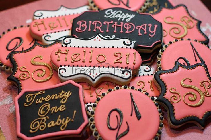 21st Birthday Cookies Retro Art Deco Sugar Cookies Decorated Cookies Pink Black Gold