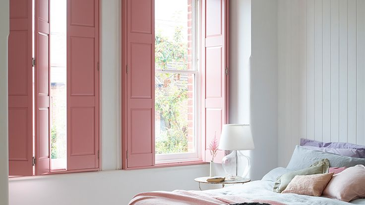 Solid Wood Panel Shutters For Windows Pink Interiors Pink Shutters Solid Wood Panel