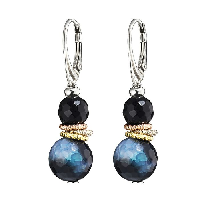 Oxette Earrings - Couture Collection Available here http://www.oxette.gr/kosmimata/skoularikia/st.silver-rose-gold-pl.earrings-onyx-green-agat-561l-1/        #oxette #OXETTEearrings #jewellery