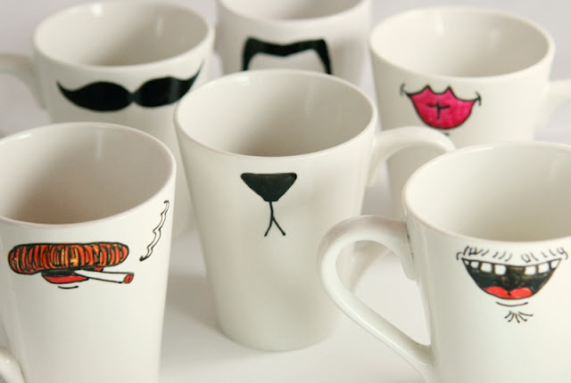Dollar store mugs and markers - make permanent designs.Little Gray Fox: Holiday