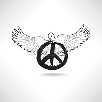 symboles: symbole de la paix. Dove avec le signe de pacifisme isolé Illustration