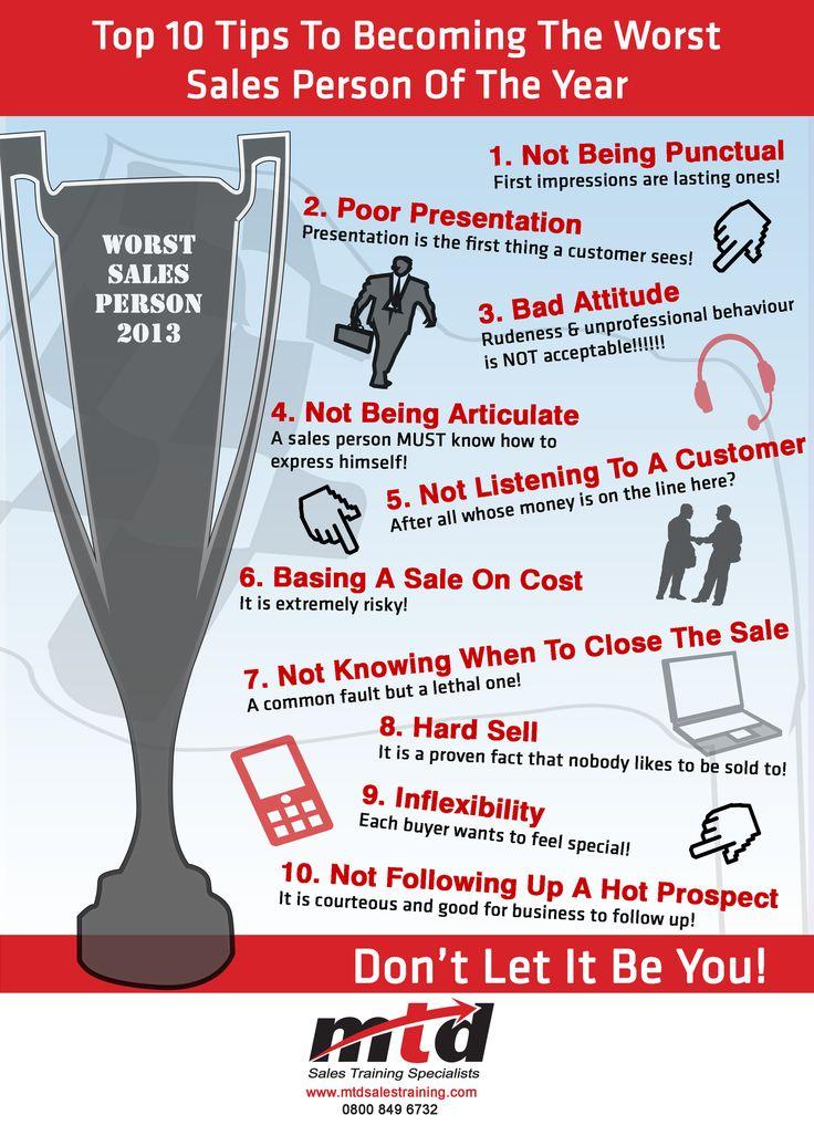 10 Consigli Per Diventare Il Peggior Venditore dell'Anno  - Infografica