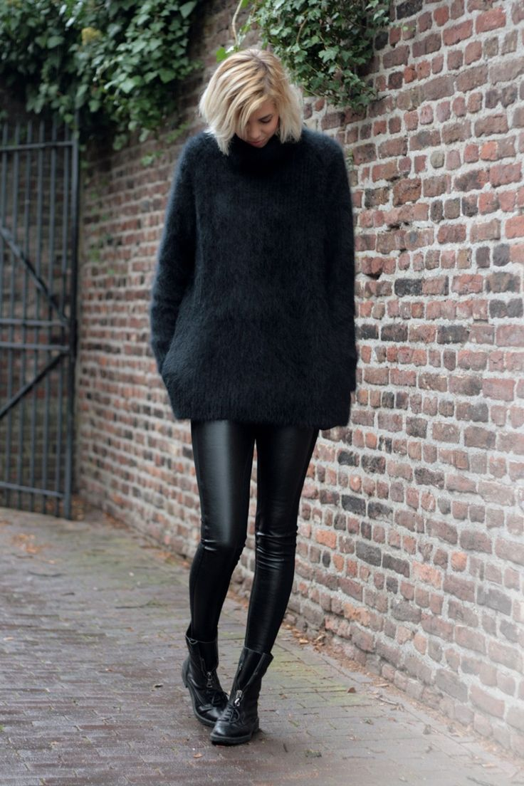 minimal chic. leather leggings and oversized sweater