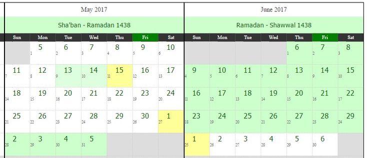 Islamic Hijri Calendar For Ramadan – 1438 Hijri! Are you Searching 1438 Hijri Calendar for Ramadan Month? If your answer is yes. No tension, just follow the below. Islamic Hijri Calendar For Ramadan – 1438 Hijri Western Date Day of Week Hijri Date 27-May-2017 Saturday 1-Ramadan-1438 28-May-2017 Sunday 2-Ramadan-1438 29-May-2017 Monday 3-Ramadan-1438 30-May-2017 Tuesday 4-Ramadan-1438 …
