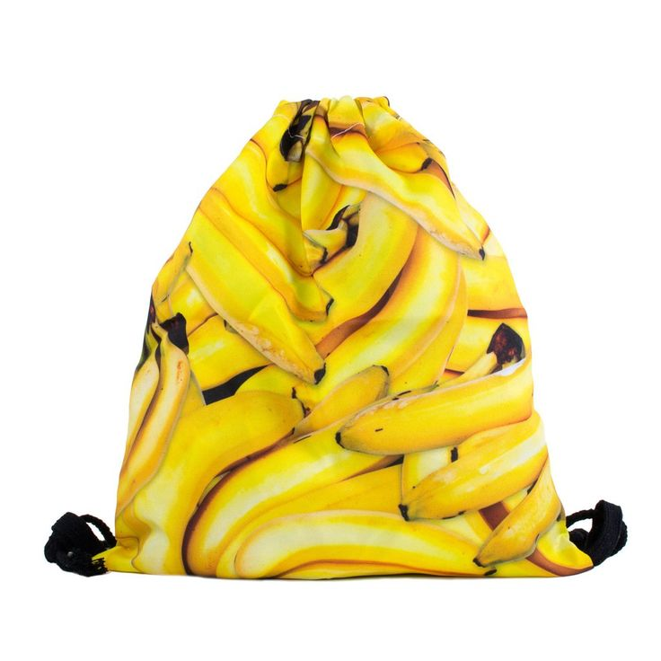Banana Invasion Drawstring Bag  Did you know that bananas only come in bunches of 5 because you'll go into a banana coma if you eat than 5 at once?? That's a completely fake fact! It's all K though: this Banana Invasion Drawstring Bag will give you all the potassium you need.