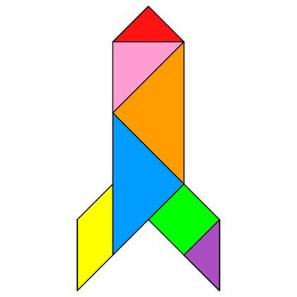 Tangram Rocket - Tangram solution #57 - Providing teachers and pupils with tangram puzzle activities
