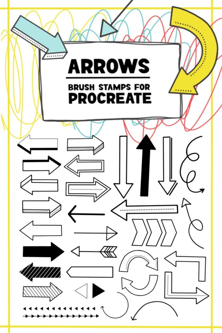 Arrow Brush Stamps for Procreate for journaling, lettering