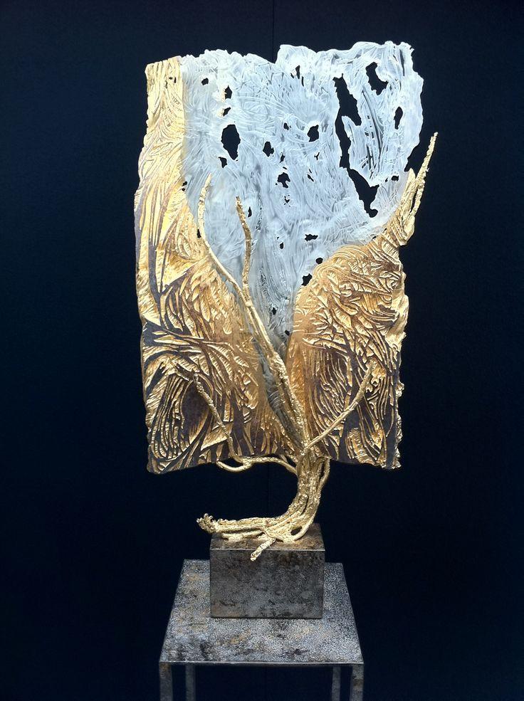 Eric Bonte - Sculpture 71/33/12 cm Art glass, Sandblasted sculpted glass and metal frame  http://www.ericbonte-maitreverrier.com/