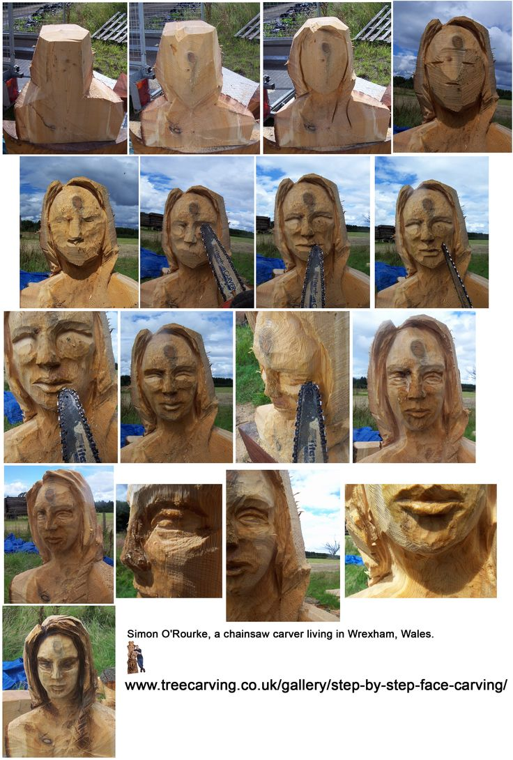 "Chainsaw Carving tutorial how to Step by step carving female face by ""Simon O'Rourke, a chainsaw carver"" https://www.facebook.com/Bill.Sculptures.tronconneuse.Quebec"