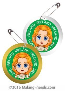 Superhero Justice wears traditional Irish clothing from Ireland for these Thinking Day SWAPs. No scissors or glue needed. Fun and easy too. Perfect for your Girl Scout World Thinking Day or International event. Kit makes 30 SWAPs.