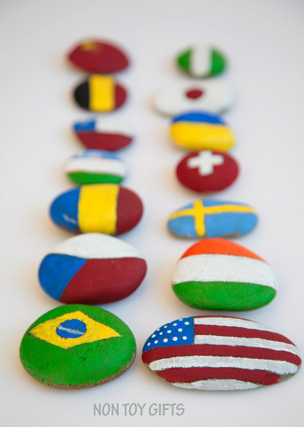 Painted flag rocks - teach kids about flags and help them identify some of them…