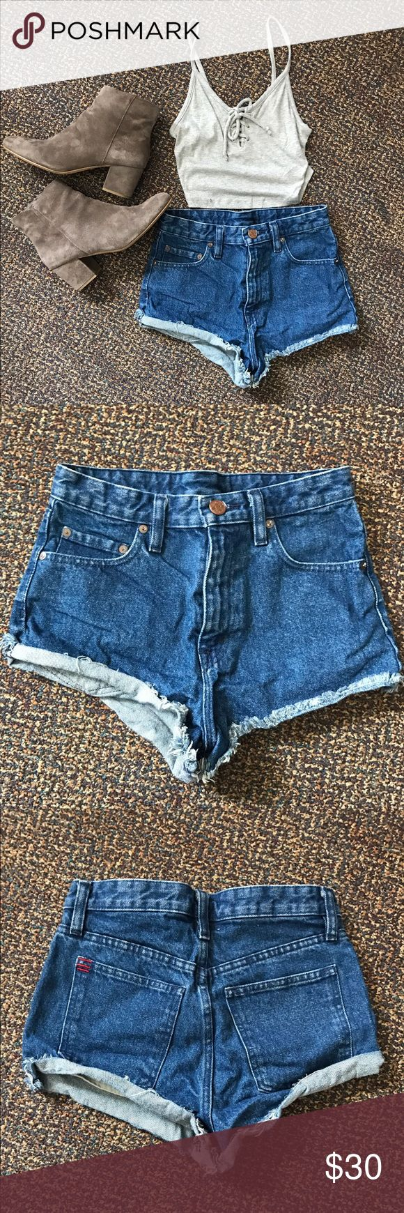 BDG Highrise Denim Shorts Only worn twice! Very cheeky shorts, too much for me but very cute. Bought from Urban Outfitters. Urban Outfitters Shorts Jean Shorts