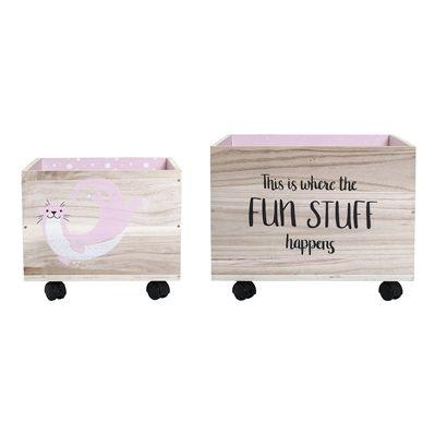 Bloomingville Mini Wooden Storage Box on Wheels Sea Creature Pink / Natural Set of 2