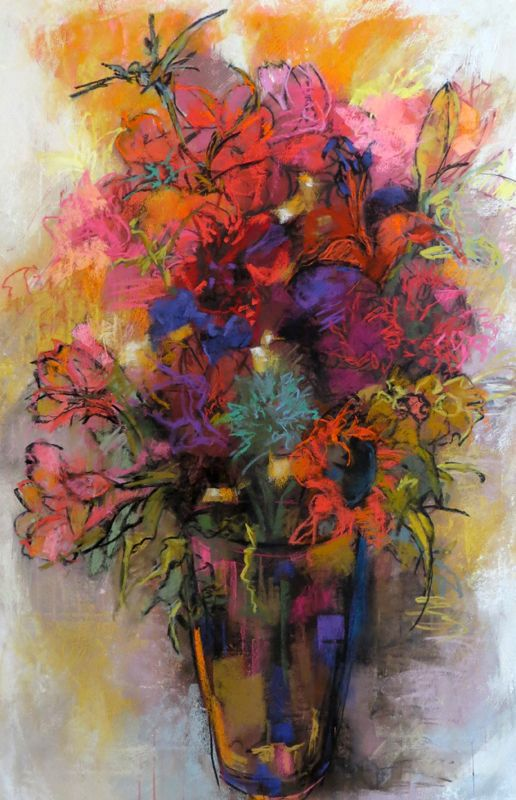 Grande Bouquet 40x26 pastel on paper by Debora Stewart