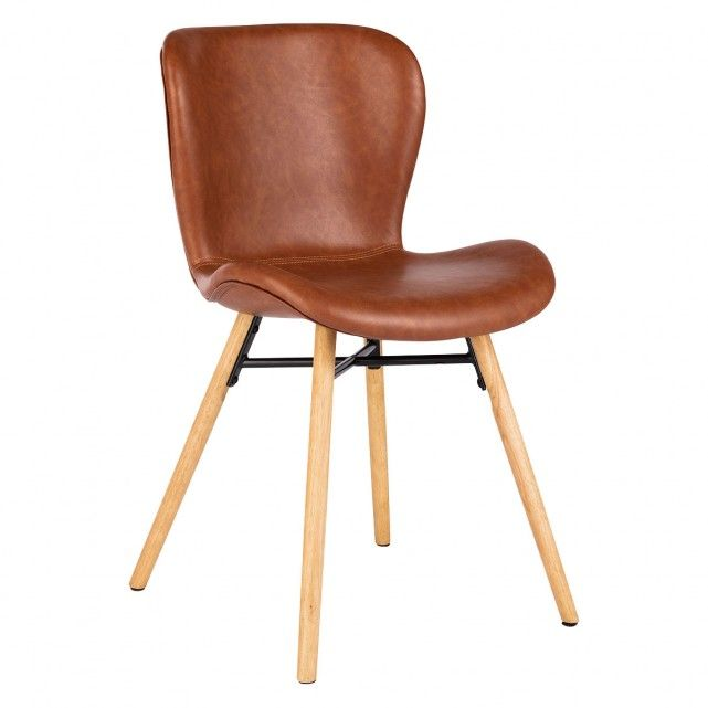 Etta Chair Brown Faux Leather Upholstered Dining Chair With Solid Oak Legs Faux Leather Dining Chairs Leather Dining Chairs Dining Chairs