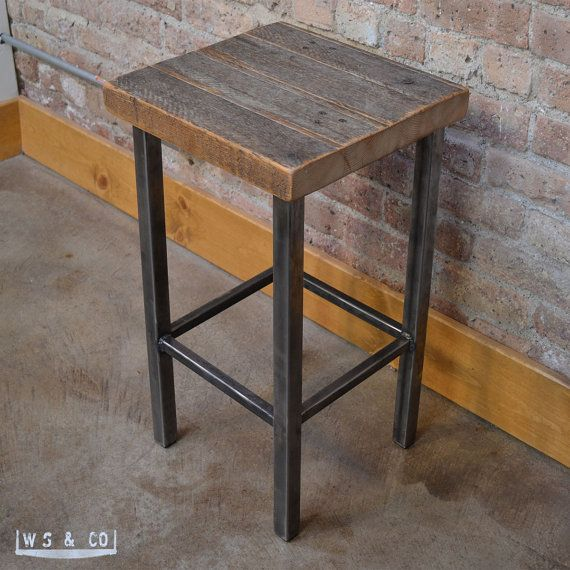 Oliver Counter Stool 25 Reclaimed Wood Metal Legs