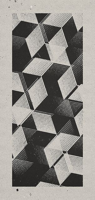 CUBE 1-IMAGE-Echelle de gris+cube aligné, remplissage déstructuré (hachures)