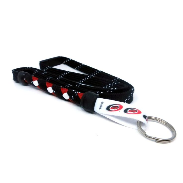 Carolina Hurricanes braided hockey lace lanyard. Braided with actual hockey skate lace and team colors. Made with a high detail logo team logo tag.