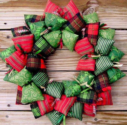 Christmas Plaid Stripes Swirls And Pointsettia Fabric Wreath Sooboo Housewares On Artfire Holidays Pinterest Wreaths