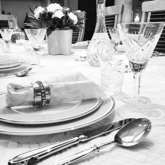 It's dinner time with friends and family.