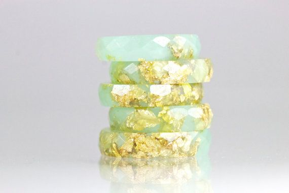 This is such a cool medium.  I've been looking for something different to wear:  Jade Green Faceted Eco Resin Ring with Gold by SloaneJewelryDesign, $33.00