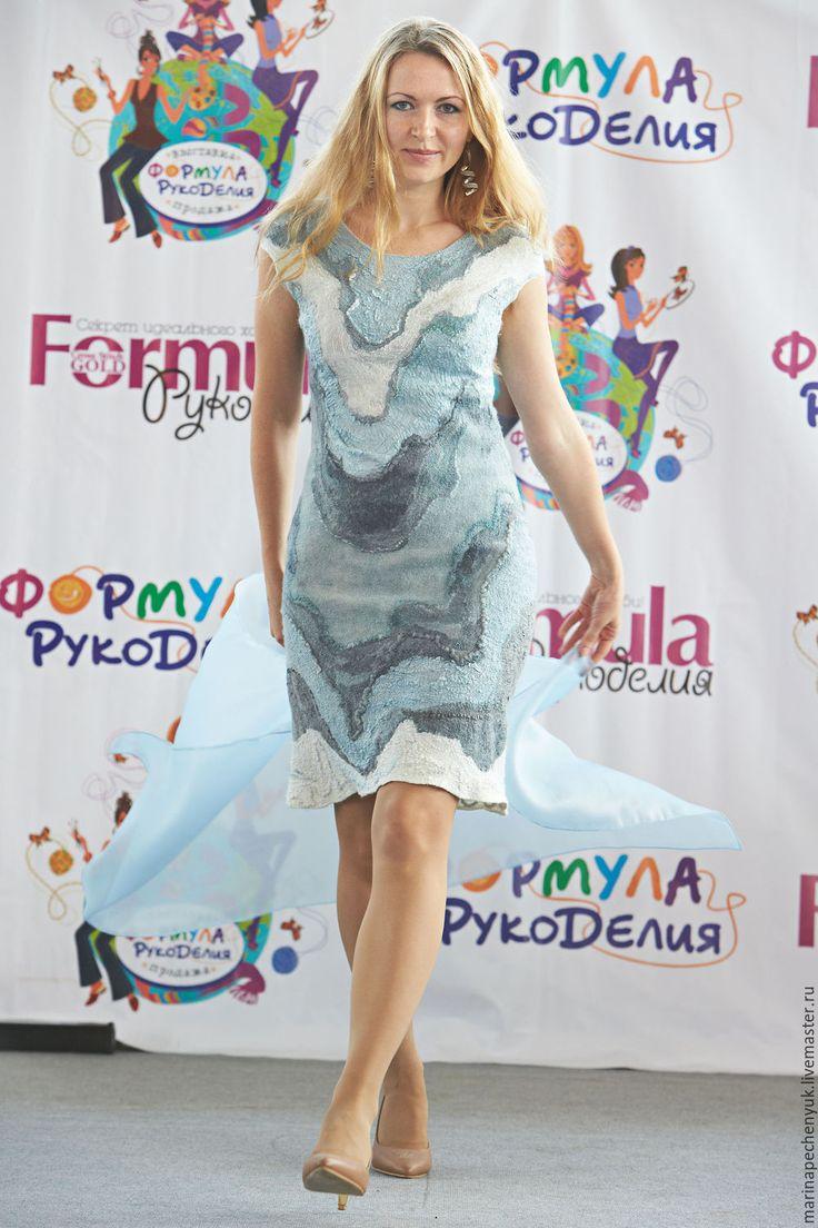 """Купить Валяное платье """"Облака и горы"""" - разноцветный, рисунок, валяная одежда, шелк натуральный"""