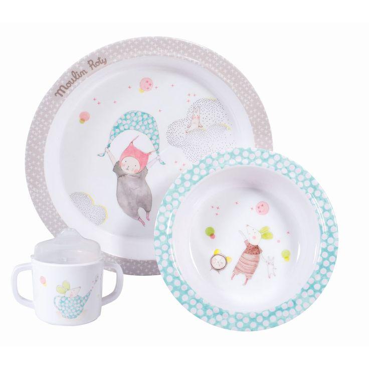 Baby Geschirr-Set aus Melamin mit trolligem Kätzchen und Mäuschen aus der Kollektion Les petits Dodos von Moulin RotyMit diesem ganz bezaubernden Geschirrset für die kleinen Essanfänger mit süßem Les petits Dodos Motiven machen die...