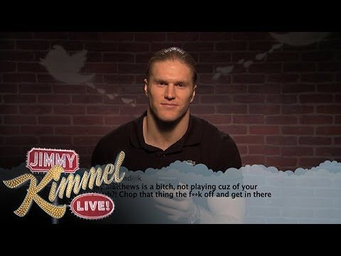 Watch the full clip here: | Celebrities Read Mean Tweets About Themselves - NFL Edition awe clay