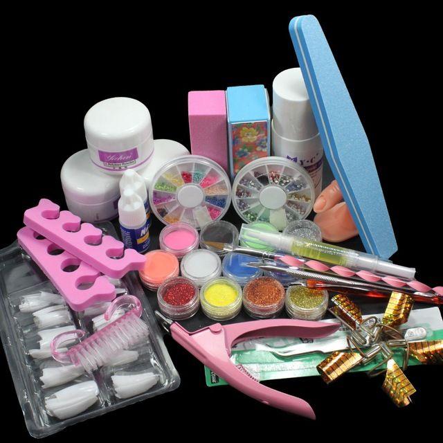 FT-135 Pro Nail Art Set Acrylic Liquid Glitter Powder File Brush Form Tips Tools Kit at free shipping