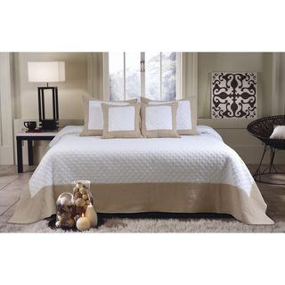 Brentwood Deluxe 5-piece Ivory/Taupe Bedspread Set | Overstock.com
