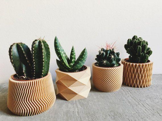 Set di 4 piccoli vasi / fioriere per piante grasse e cactus, progettazione, hygge, geometriche e minimalista stampato 3D in legno.  Portare un tocco di originalità e modernità ai vostri vasi di piante grasse e cactus con questi 3 piccoli vasi / fioriere minimaliste e geometrici stampato 3D in legno.  Non cè bisogno di rinvasare vostri piante o cactus, è possibile inserire direttamente il vostro pentole allinterno!  Le loro linee pulite, come pure il loro materiale porterà una natura...