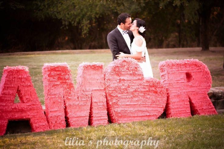 AMOR handmade pinata Mexican wedding love