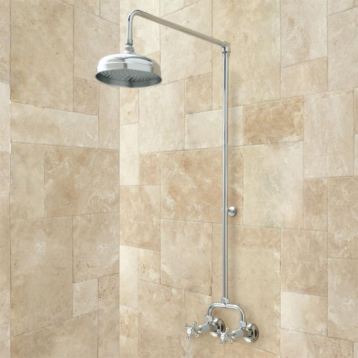 Baudette Exposed Pipe Wall Mount Shower With Rainfall Shower Head Wall Mount Pipes And Bath
