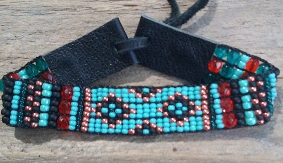 Bohemian woven cuffSeedbead loomedNative by Adornments925 on Etsy