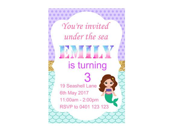 Hey, I found this really awesome Etsy listing at https://www.etsy.com/au/listing/535410176/mermaid-birthday-invitation-birthday