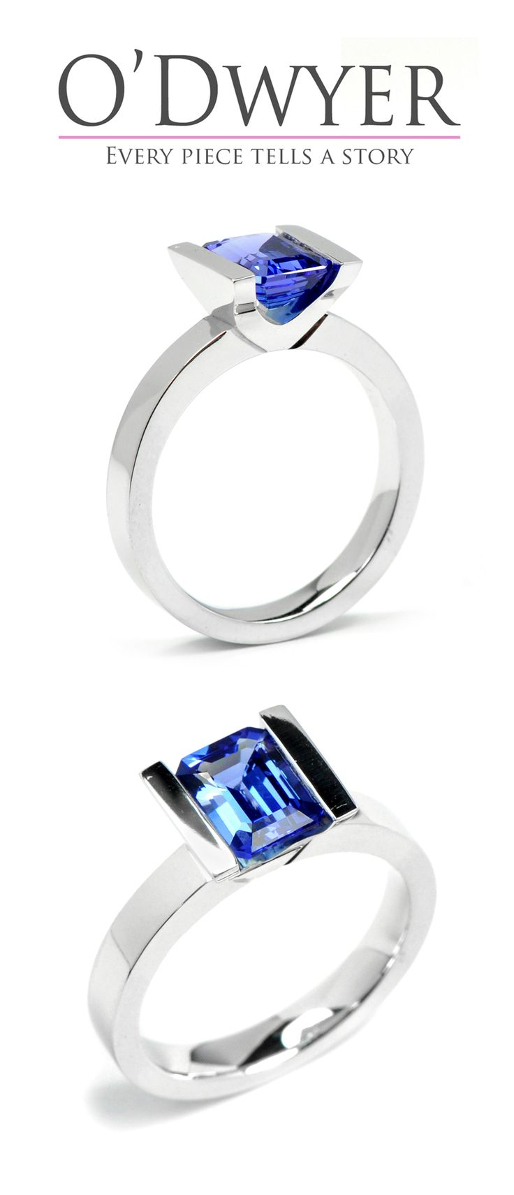 Lika Colour - 18ct white gold ring with an emerald cut tanzanite in the centre. Vigselring Förlovningsring