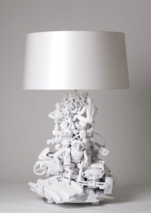 Lamp for kids room made from old toys...I would like this better if the toys were left in their original colors.