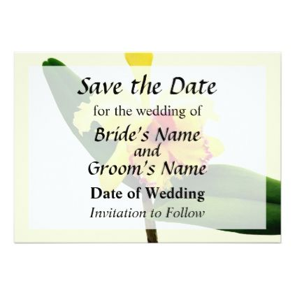 Pink Tipped Yellow Orchid Save the Date Card - invitations custom unique diy personalize occasions